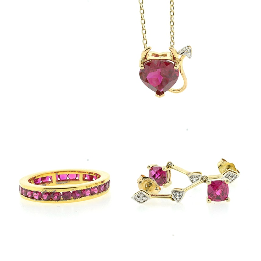 Vermeil Synthetic Ruby and Diamond Chip Earrings, Pendant with Chain, and Band
