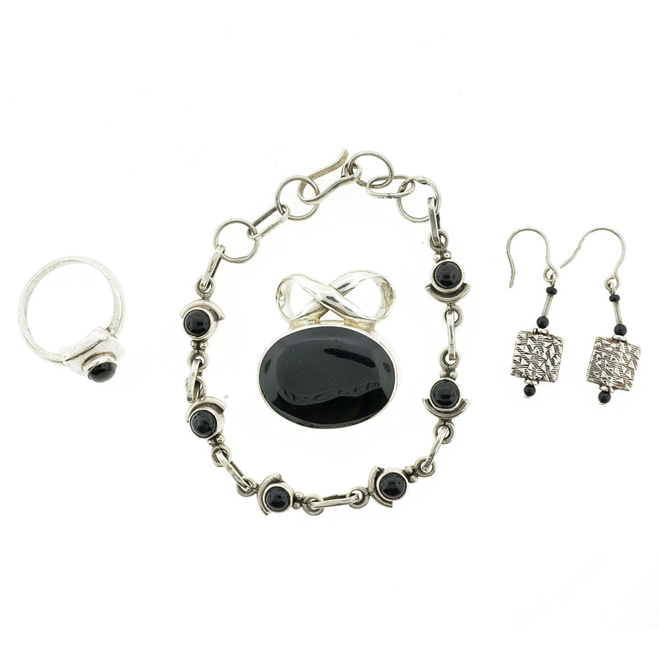Black Onyx and Sterling Silver Demi Parure