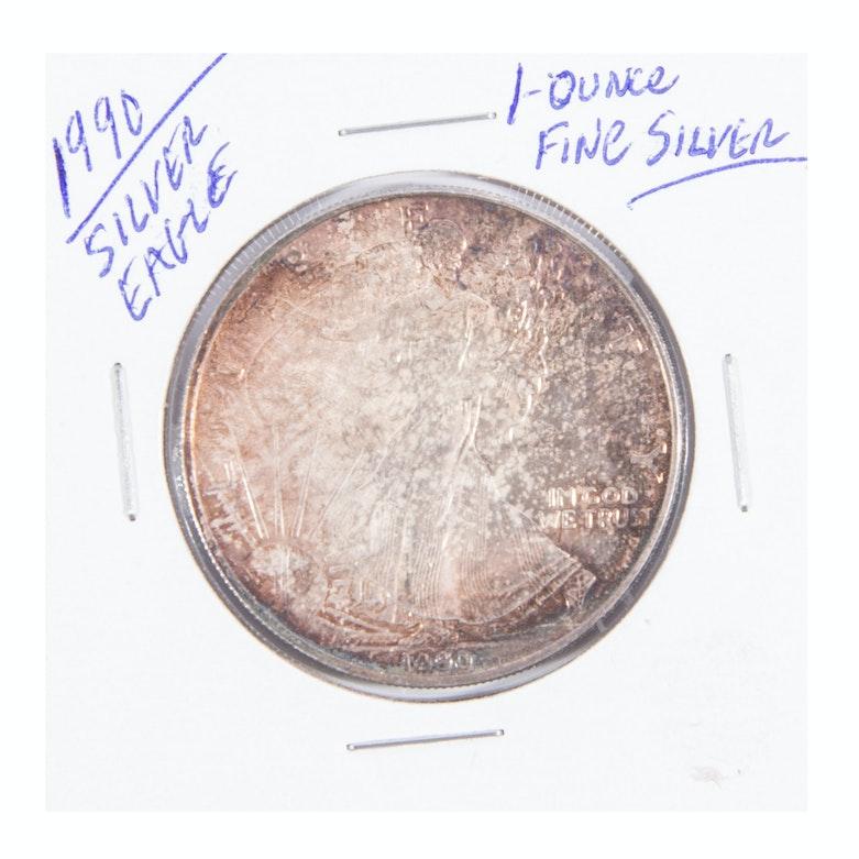 1990 Toned Silver Eagle Dollar