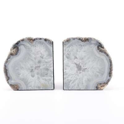 Druzy Quartz Geode Bookends