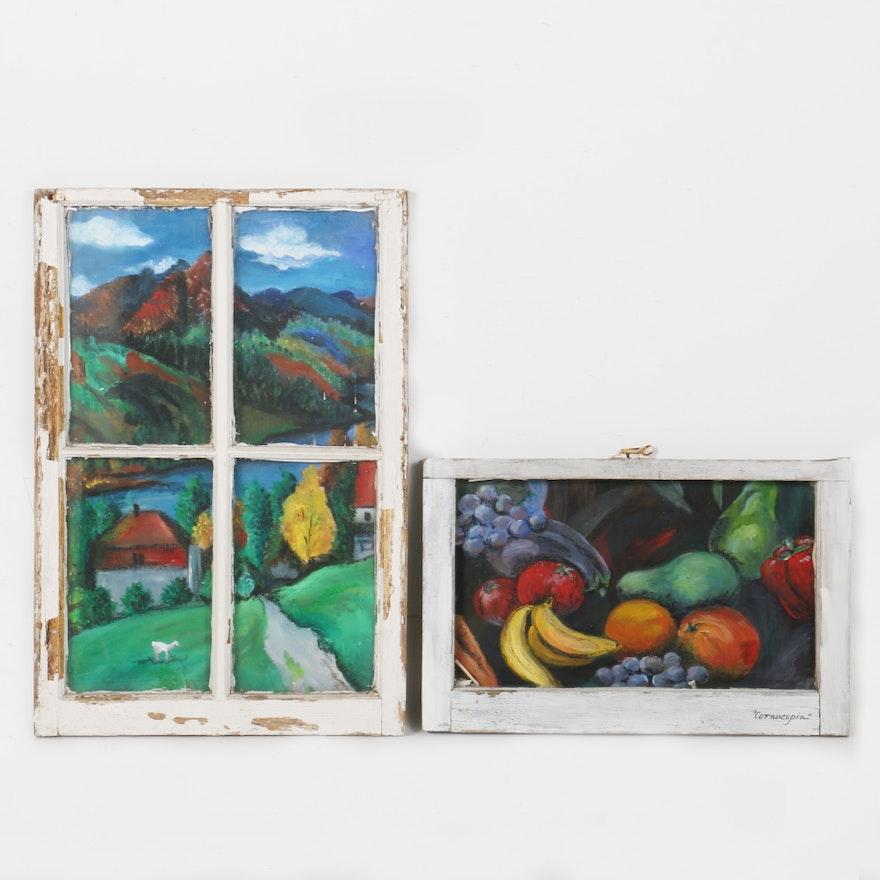 Acrylic on Canvas Paintings Framed in Vintage Windows : EBTH