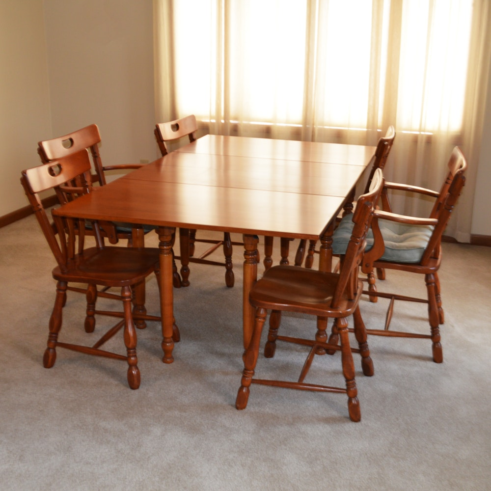 Maple Kitchen Table With Chair And Bench Ebth: Vintage Willett Golden Beryl Maple Gate Leg Table And Six