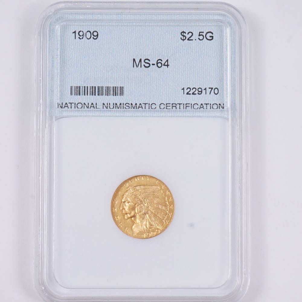 1909 Indian Head Two and a Half Dollar Gold Coin