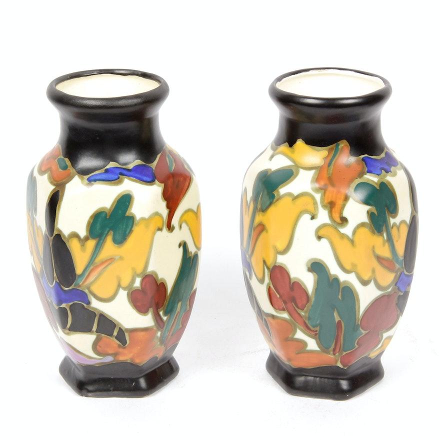 Pair Of Vintage Art Deco Bergen Pottery Vases From Belgium Ebth