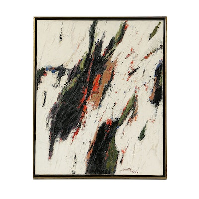 """Signed Abstract Oil Painting on Canvas """"La Salamande"""""""