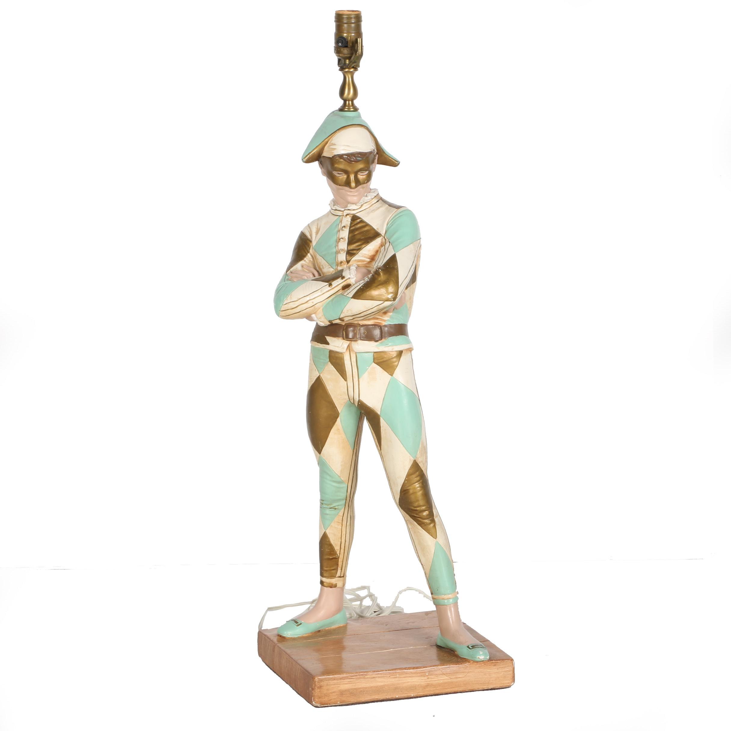 Hollywood Regency Harlequin Jester Lamp