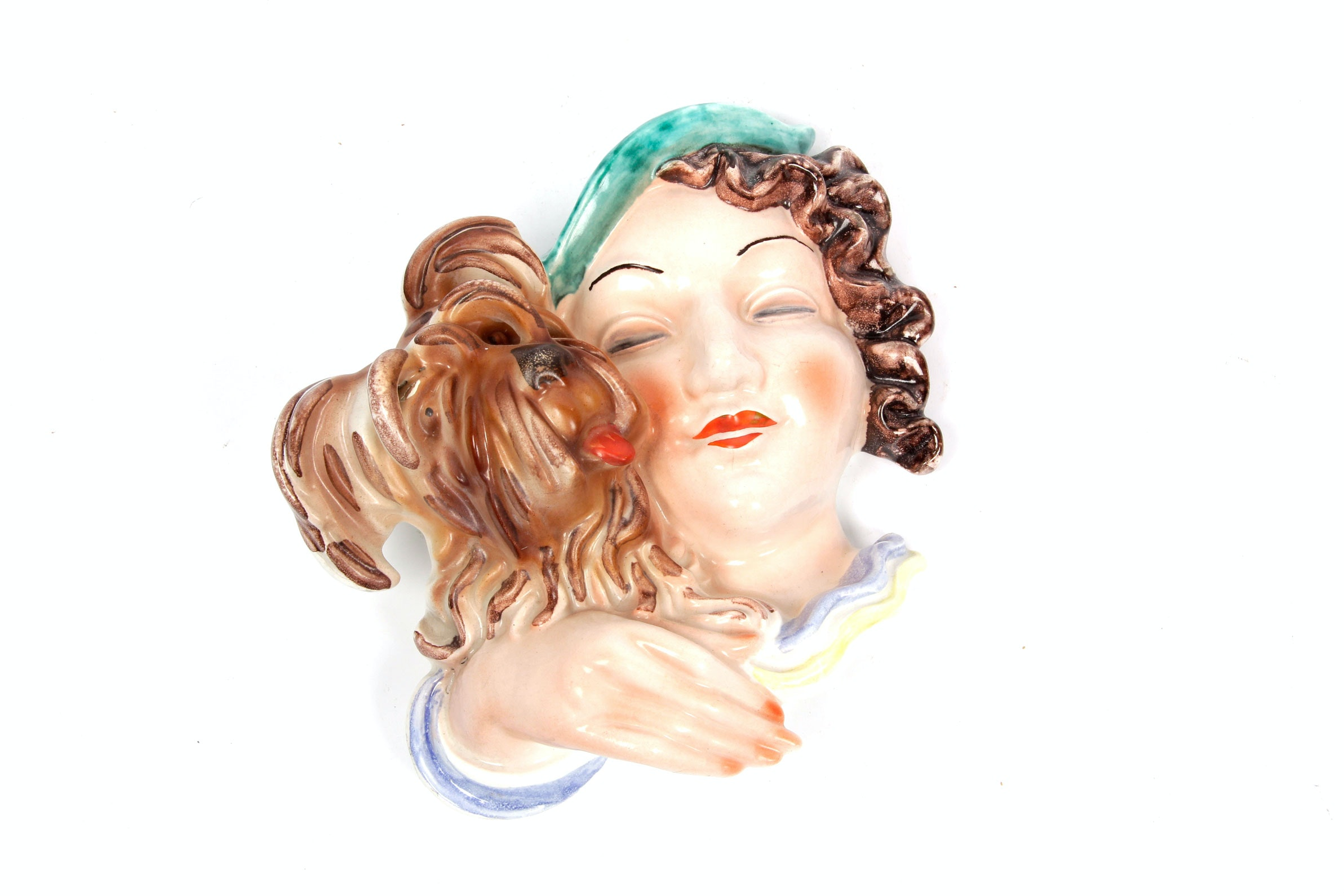 Vintage Woman and Dog Wall Mask by Erphila