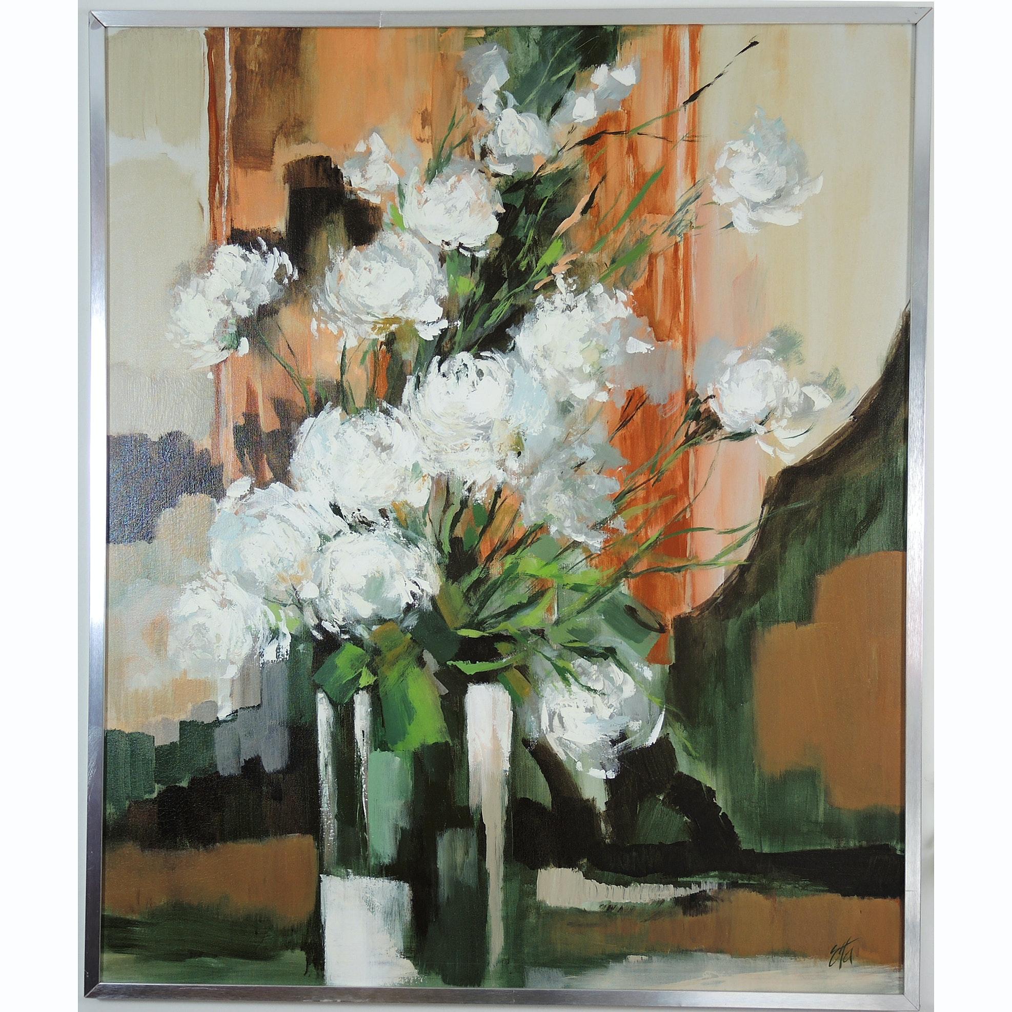 Etta Benjamin Floral Still Life Painting on Canvas
