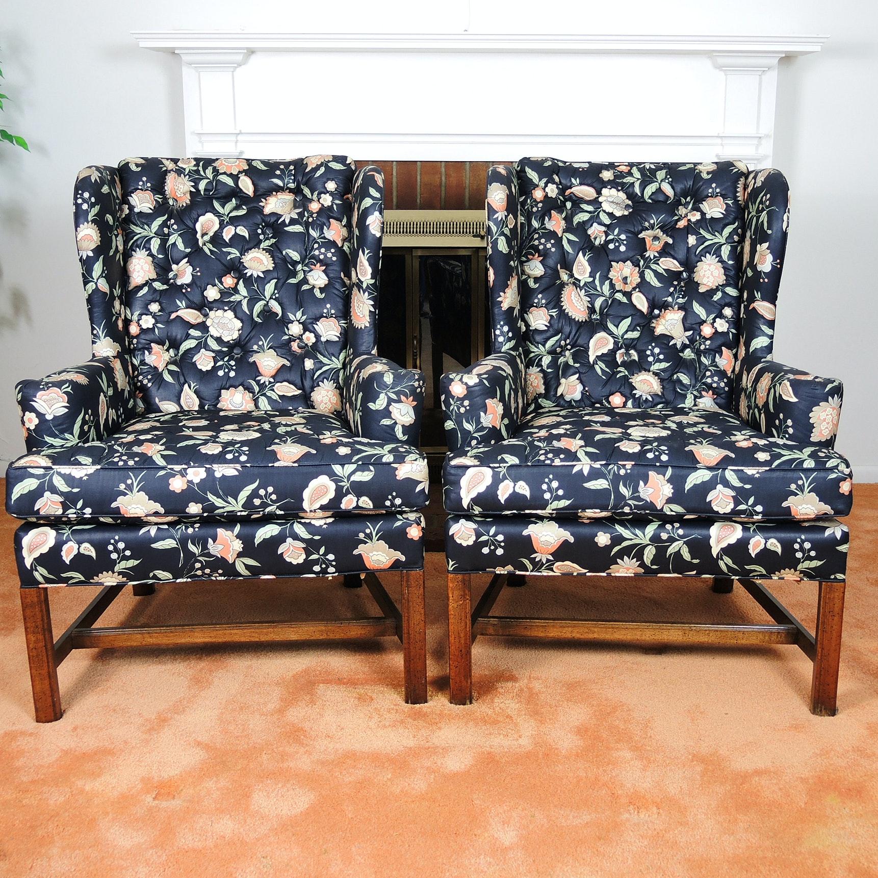 Globe Black Floral Wingback Chair Set ...
