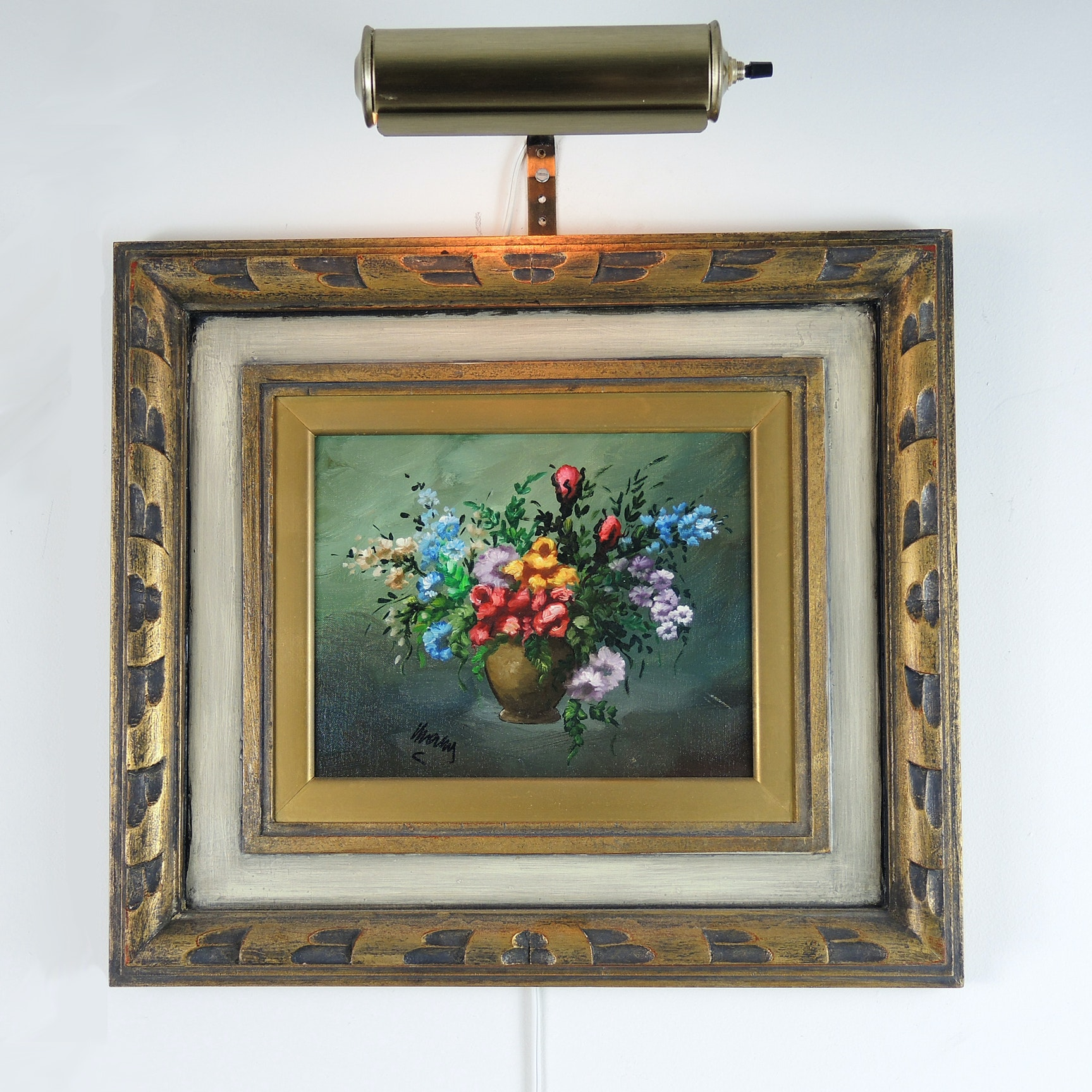 Signed Floral Still Life Painting with Picture Light