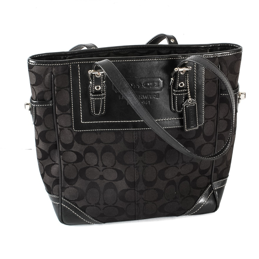 Coach Monogrammed Black Canvas and Leather Shoulderbag   EBTH a459f1ae3cd0f