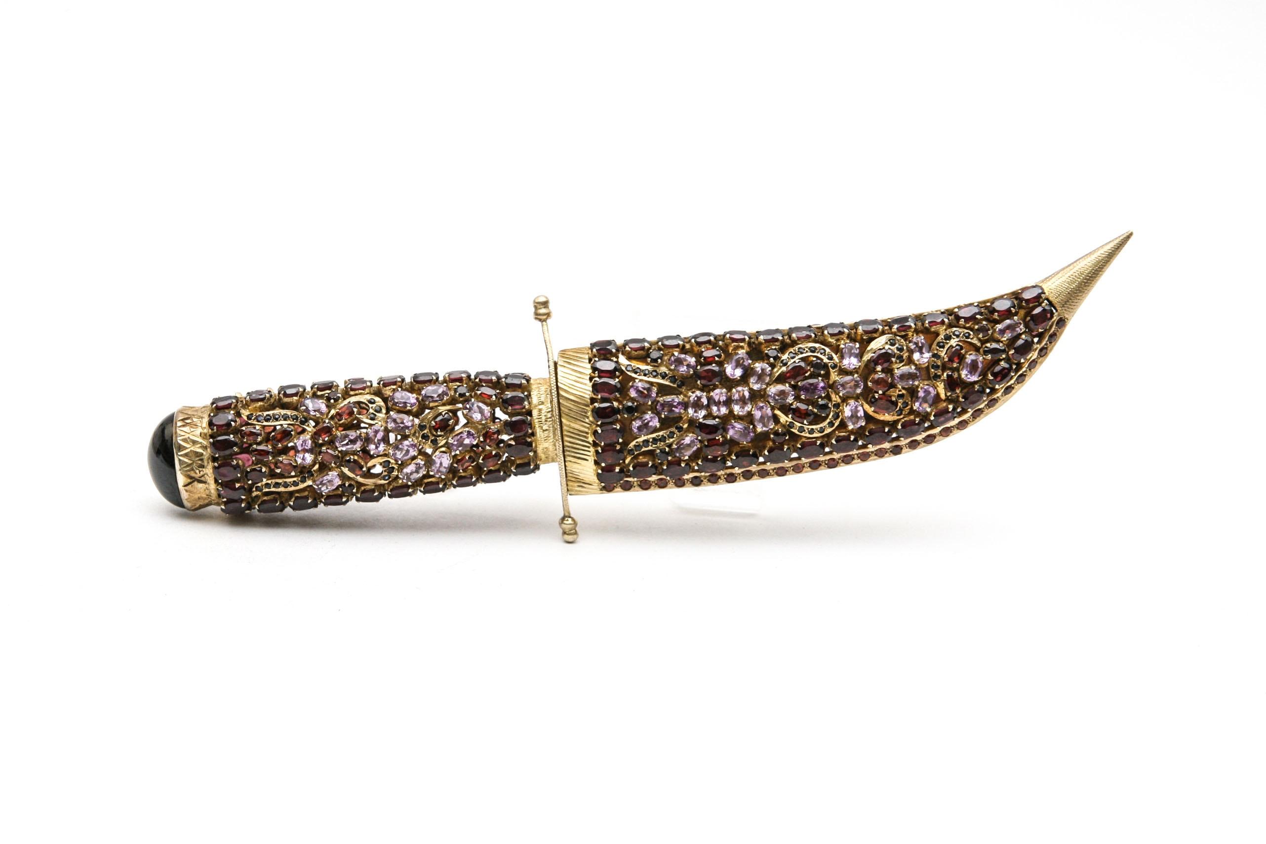 Ornamental Dagger with Gemstone Encrusted Sheath