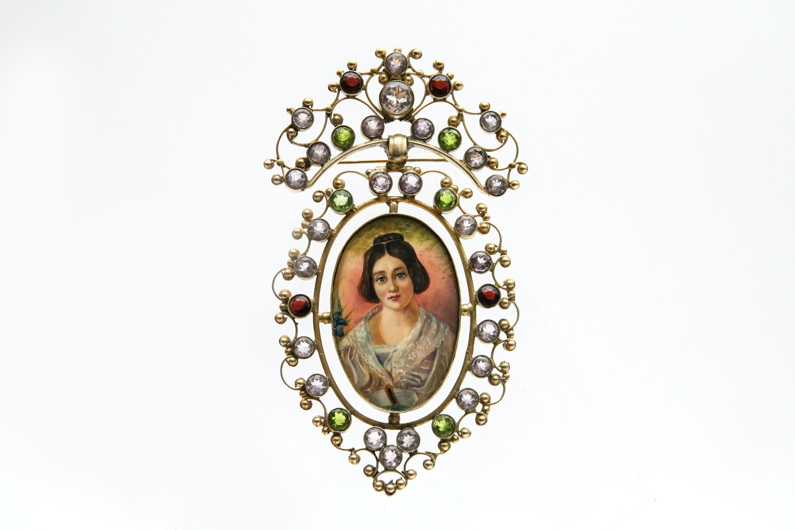 Vermeil, Gemstone and Painted Mother of Pearl Brooch Pendant
