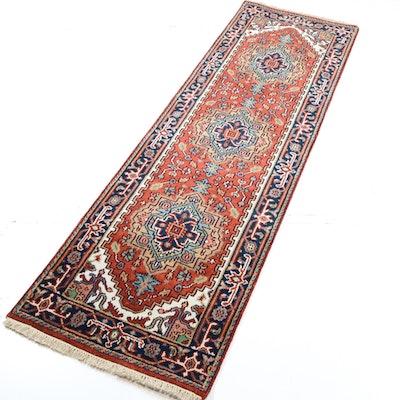 Hand Knotted Indo-Persian Heriz Serapi Rug Runner