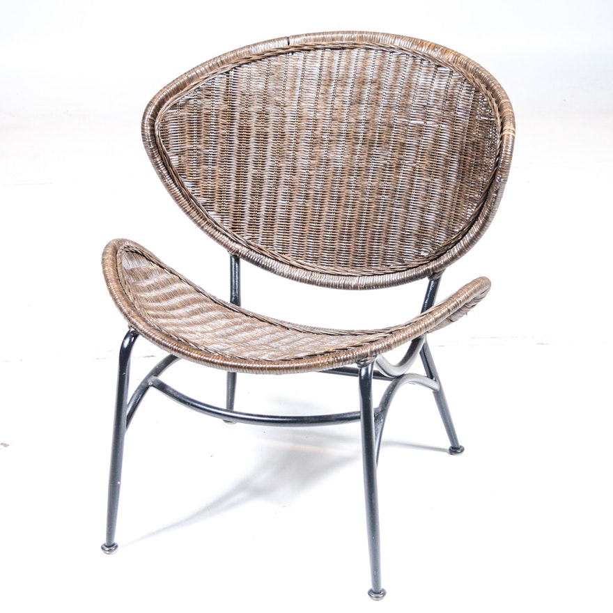mid century modern rattan wicker chair ebth