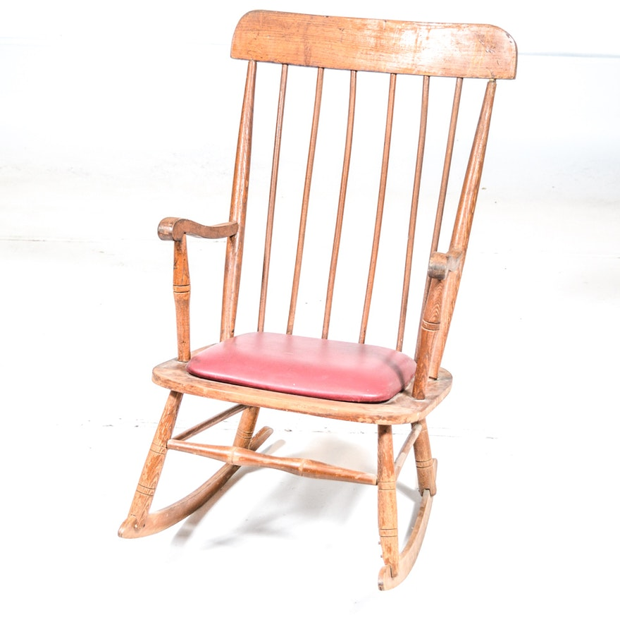 Vintage high back wooden rocking chair ebth - Automatic rocking chair for adults ...