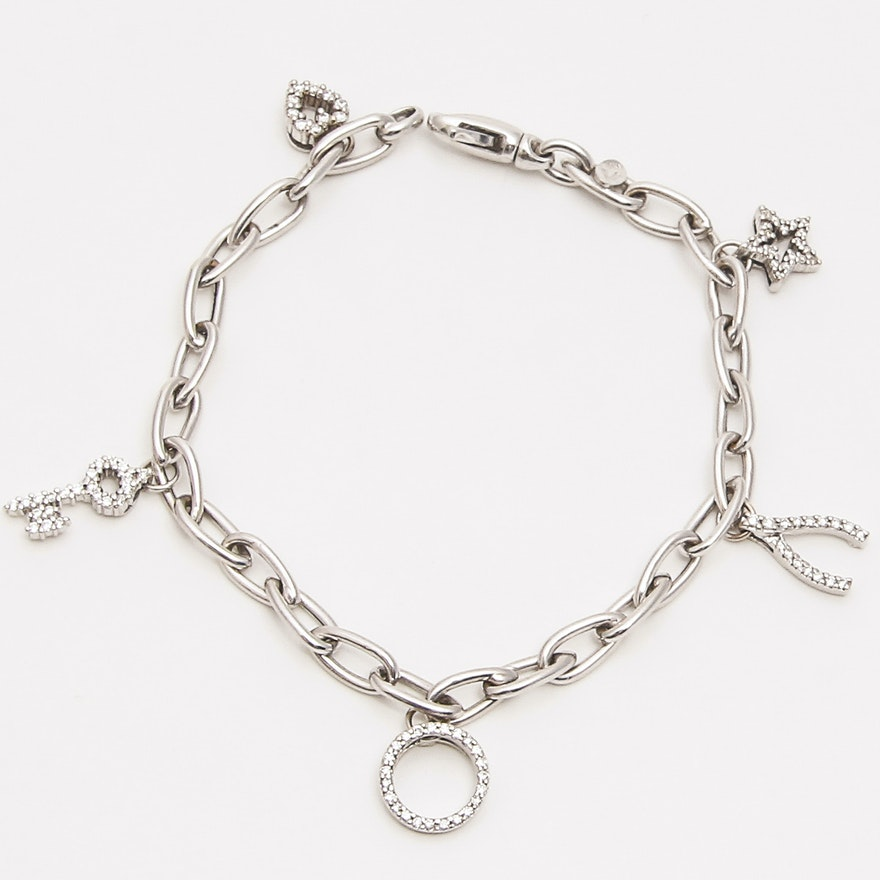 c7162f68add93 Roberto Coin Tiny Treasure 18K Diamond Charm Bracelet