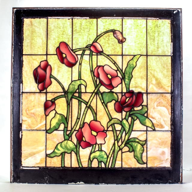 Large Early 20th Century Stained Glass Window from Cincinnati Westside Home