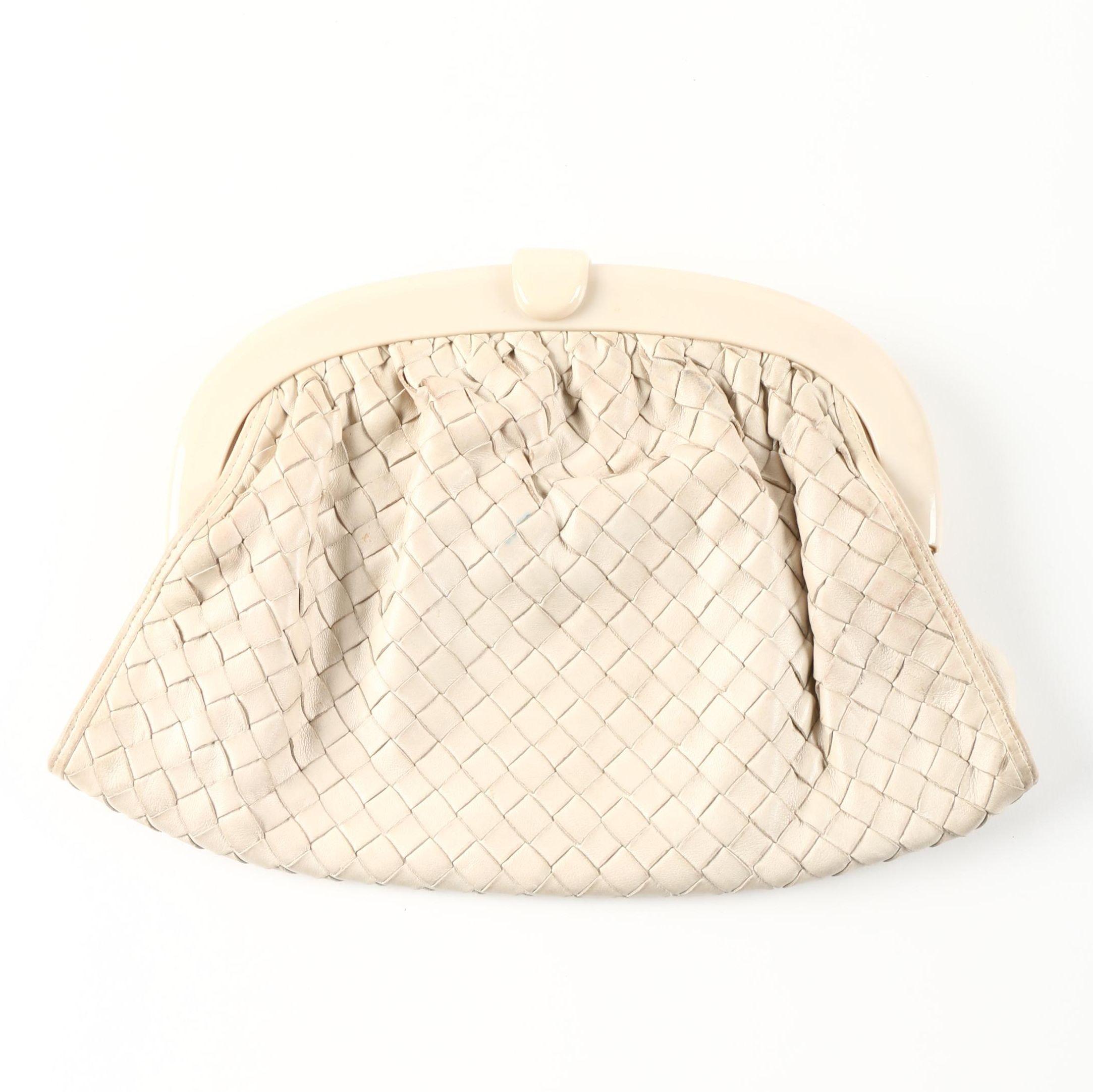 Bottega Veneta Cream Woven Leather Clutch