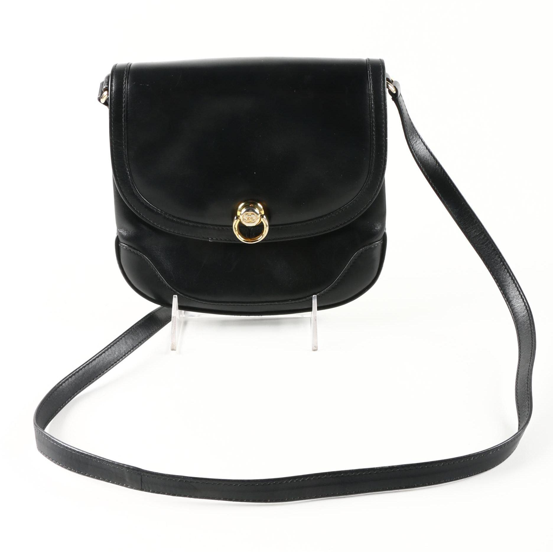 Vintage Gucci Boutique Black Leather Crossbody Bag