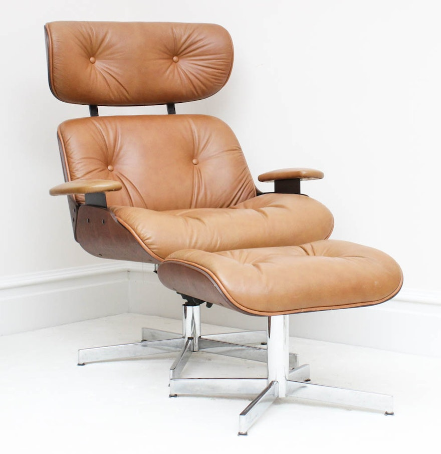 Selig chair and ottoman - Eames Lounge Style Chair And Ottoman By Selig