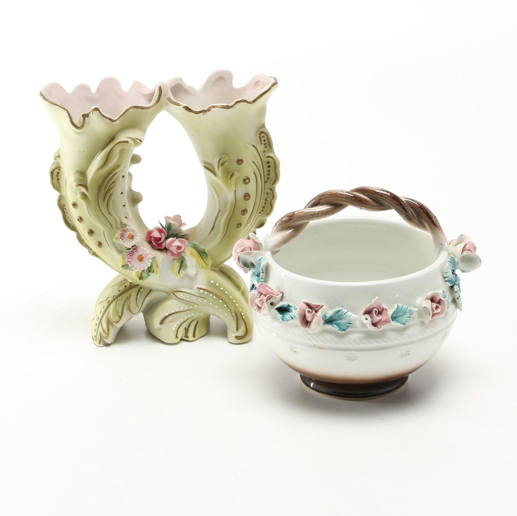 Floral Decorated Ceramics Including Capodimonte