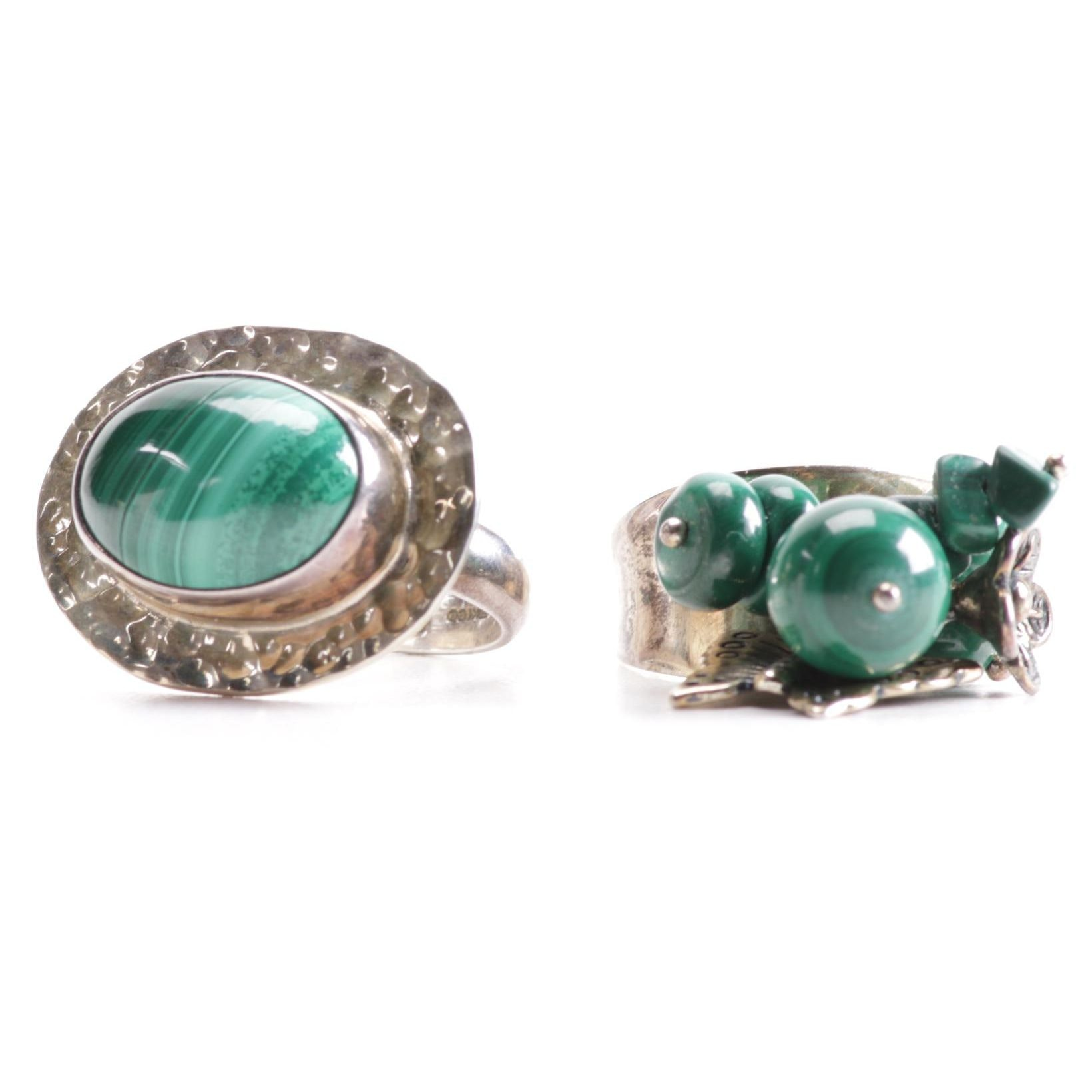 Sterling and Malachite Rings