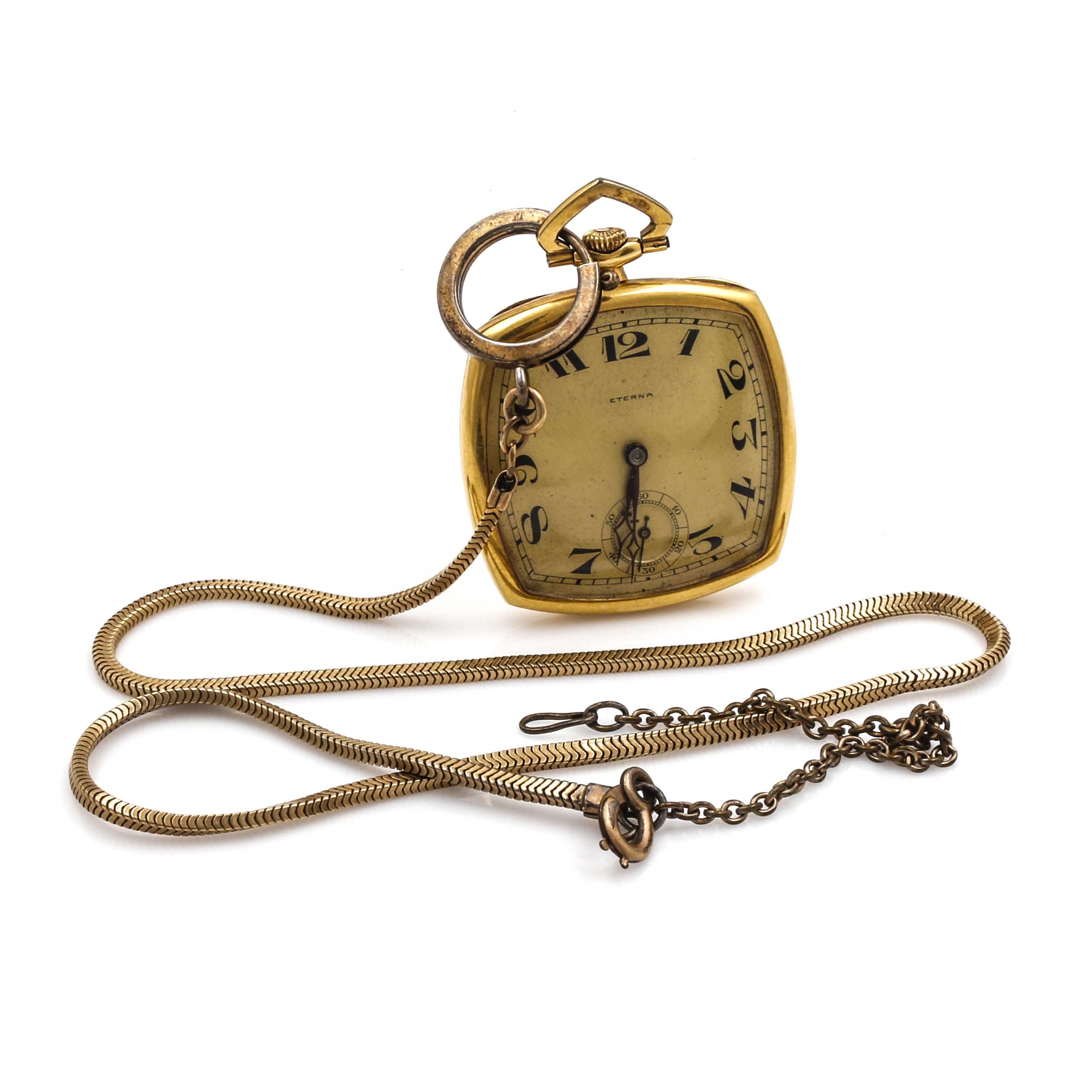 Eterna Rounded Square Gold Tone Pocket Watch and Fob