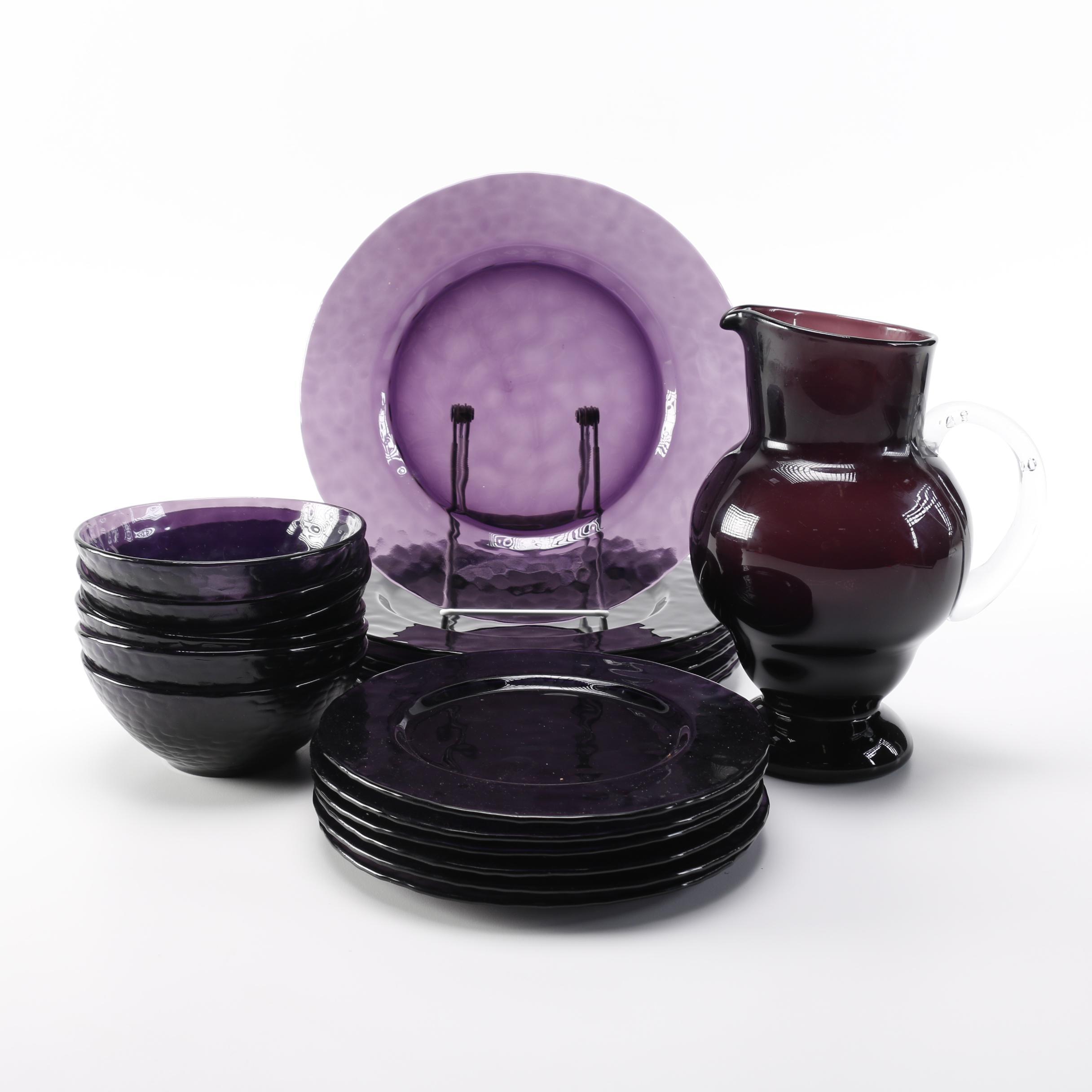 Set of Purple Glass Tableware