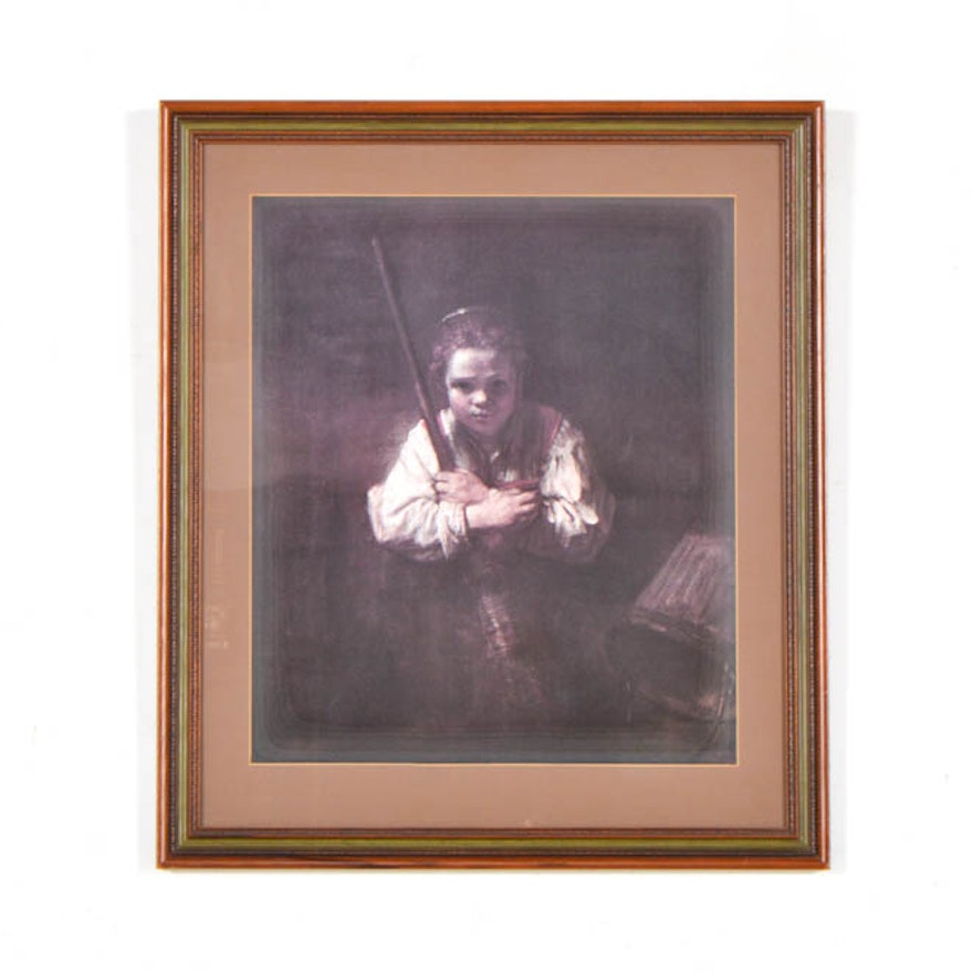 Framed Offset Lithograph Of Girl With A Broom After Rembrandt Van