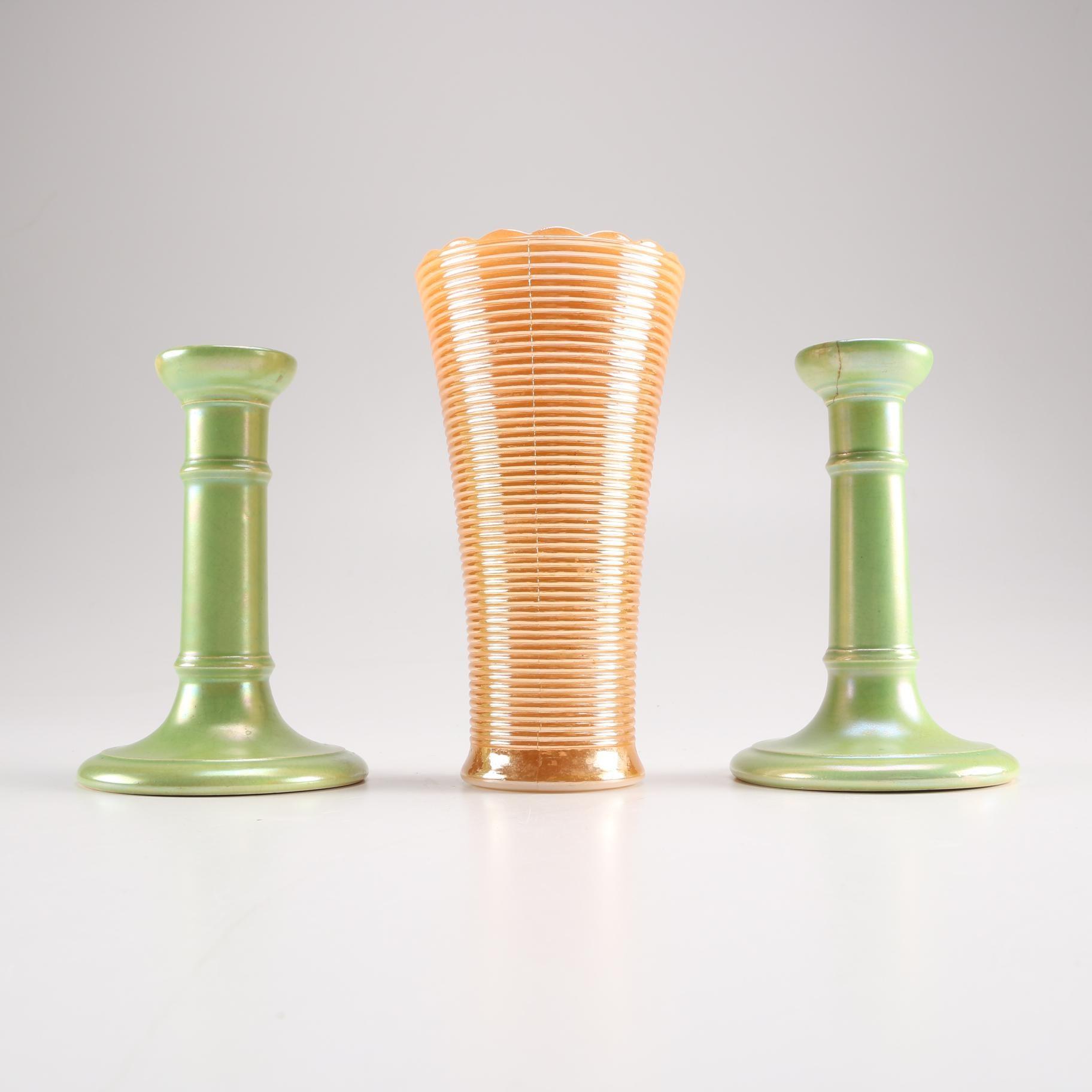 Early 20th century Moorcroft Burslem Candlestick and Mid-Century Lusterware Vase
