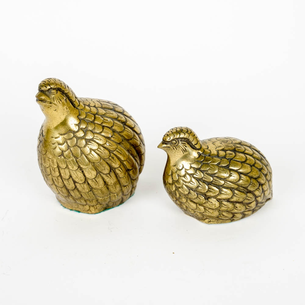 Pair of Mid Century Brass Quail Bookends