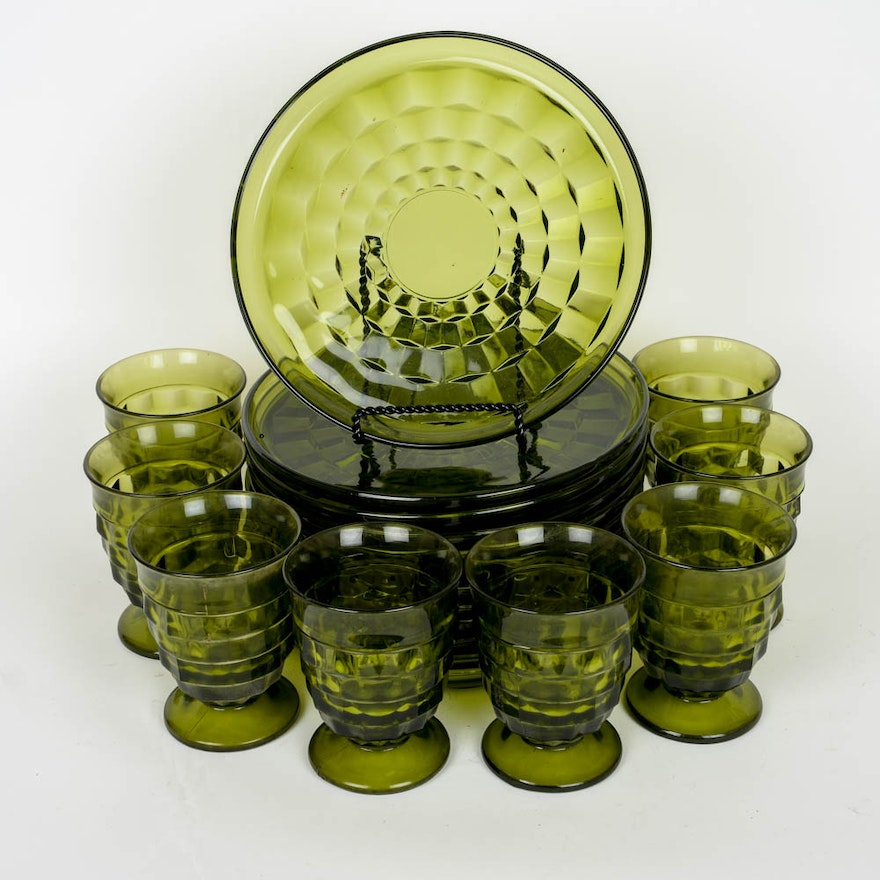 Set Of Green Depression Glass Plates In Americana Pattern EBTH Impressive Green Depression Glass Patterns