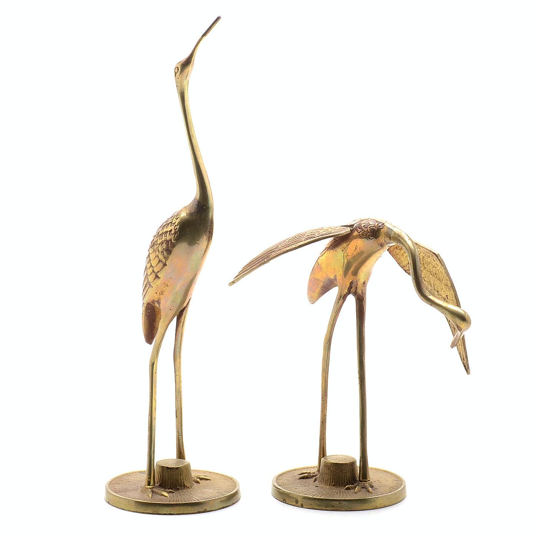 Vintage Pair of Brass Cranes