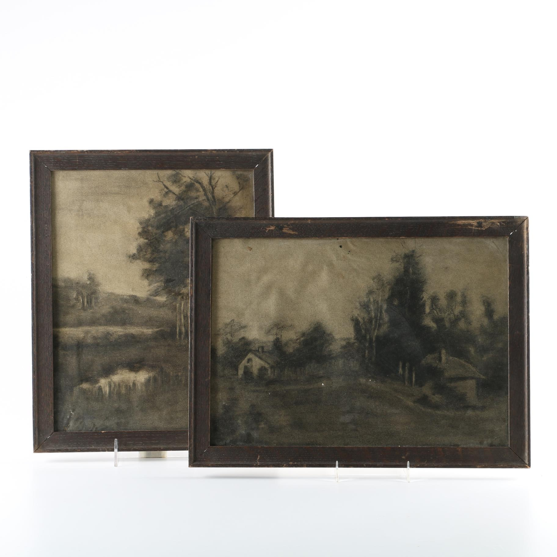 Original Charcoal Drawing Landscapes