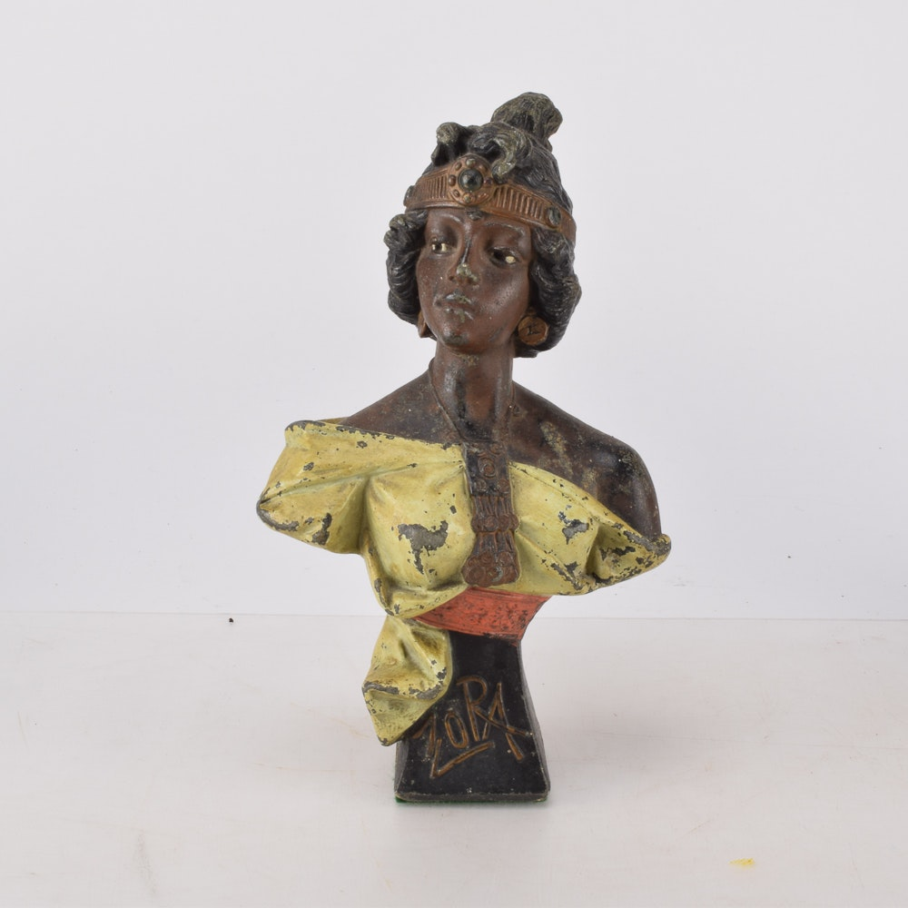 "After Emmanuel Villanis ""Zora"" Vintage Spelter Metal Statue"
