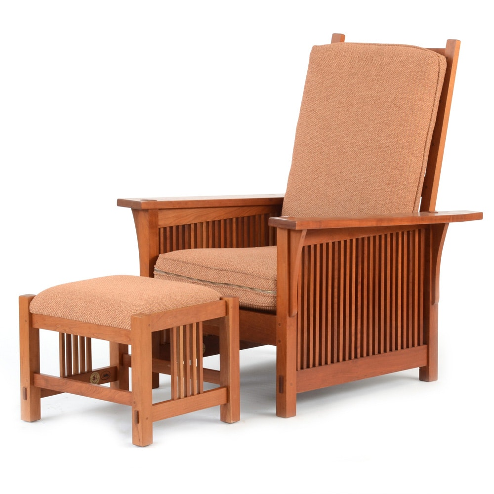 stickley furniture morris chair and footstool