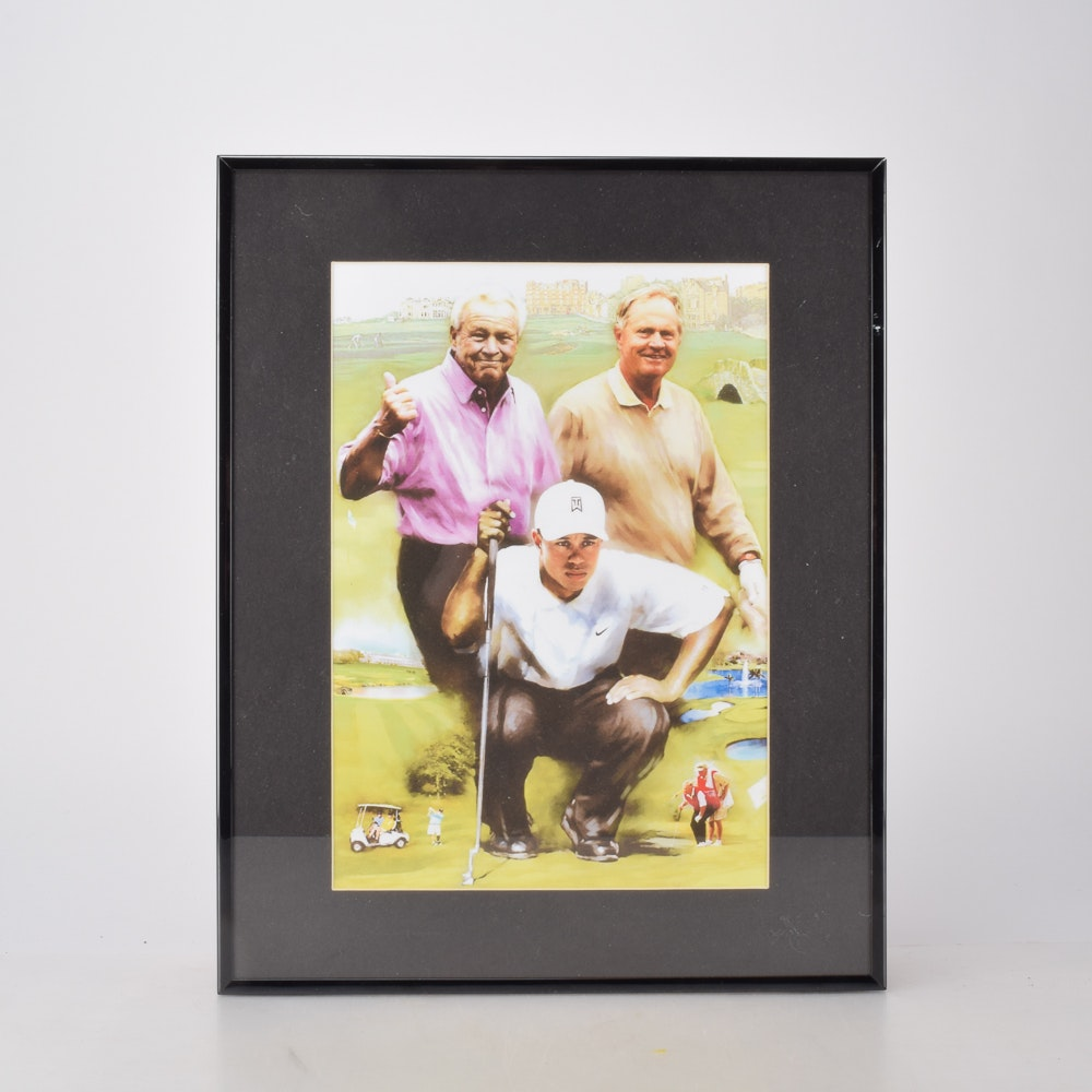 Framed Offset Lithograph of Arnold Palmer, Jack Nicklaus, and Tiger Woods