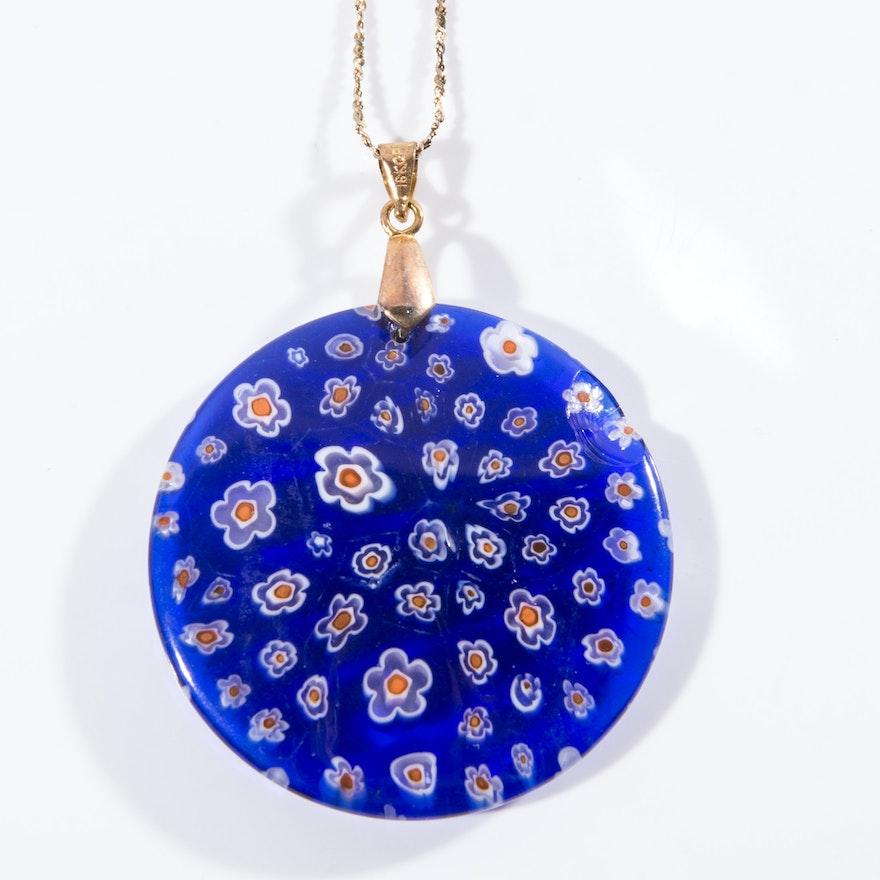 Murano glass millefiori pendant ebth murano glass millefiori pendant aloadofball Images