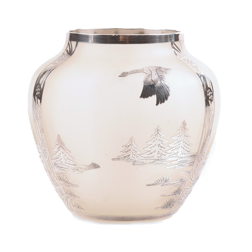 Frosted Glass Vase With Sterling Silver Overlay Ebth