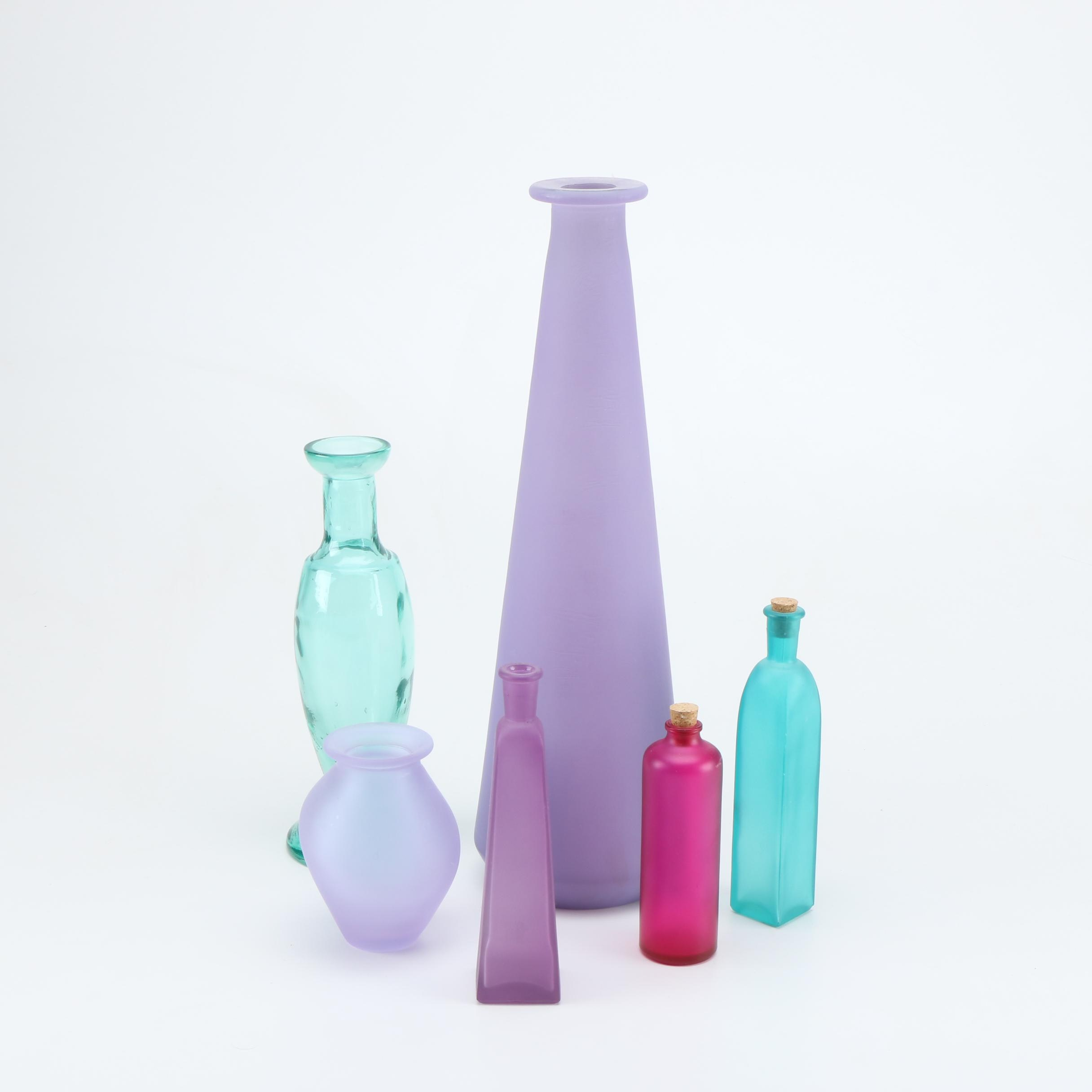 Set Of Colored Glass Vases and Bottles