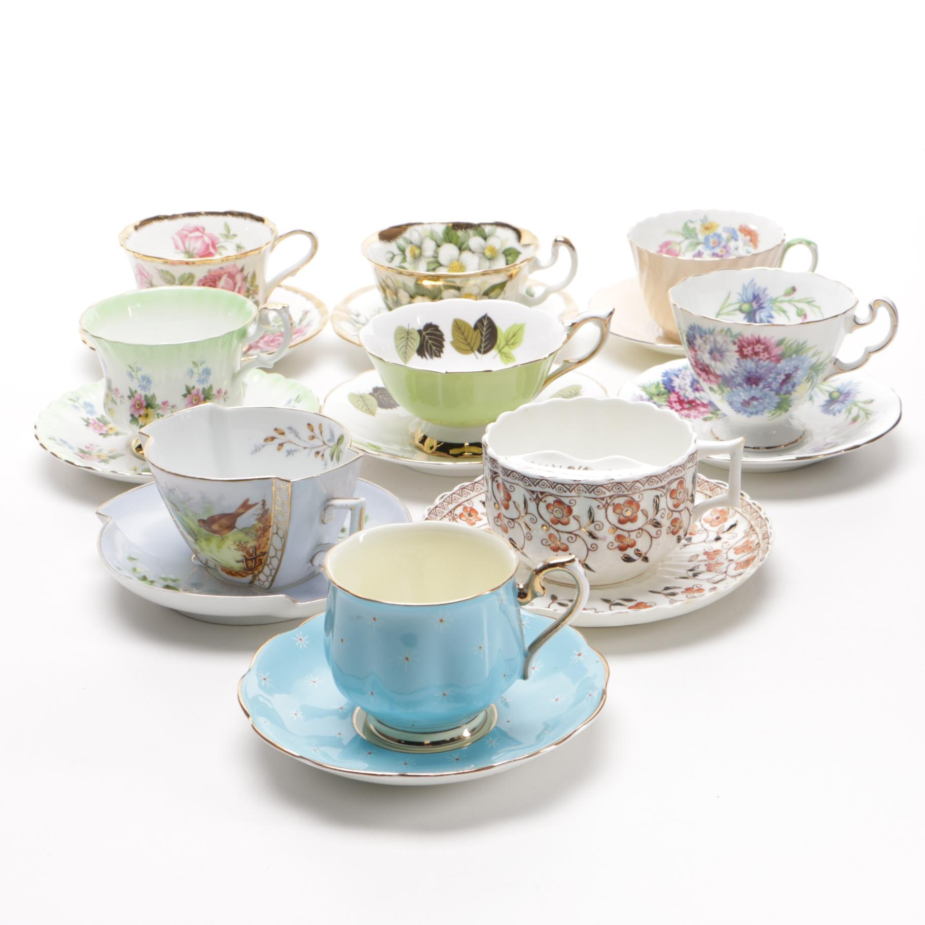 Adderley and Other English Bone China Tea Cups And Saucers
