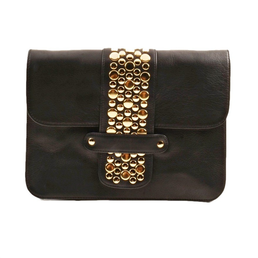 Hammitt Los Angeles Black Leather Clutch With Gold Hardware