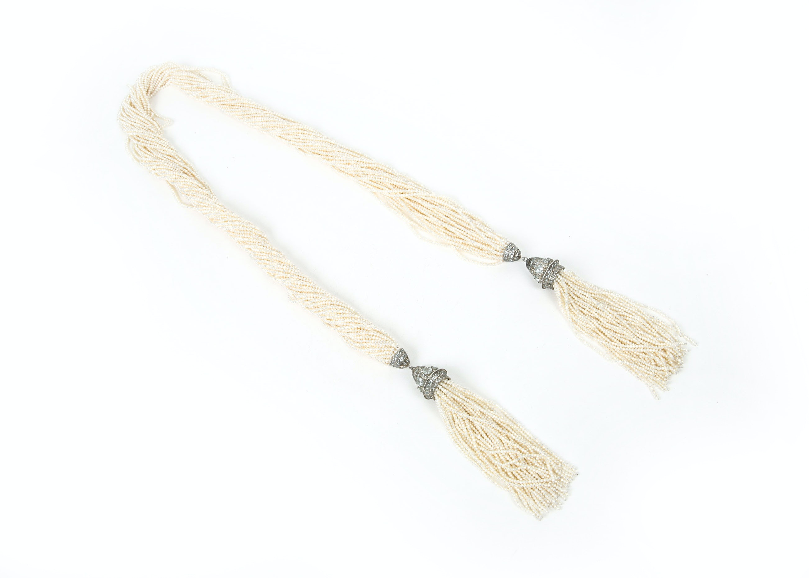 Multistrand Seed Pearl and Aquamarine Lariat Necklace