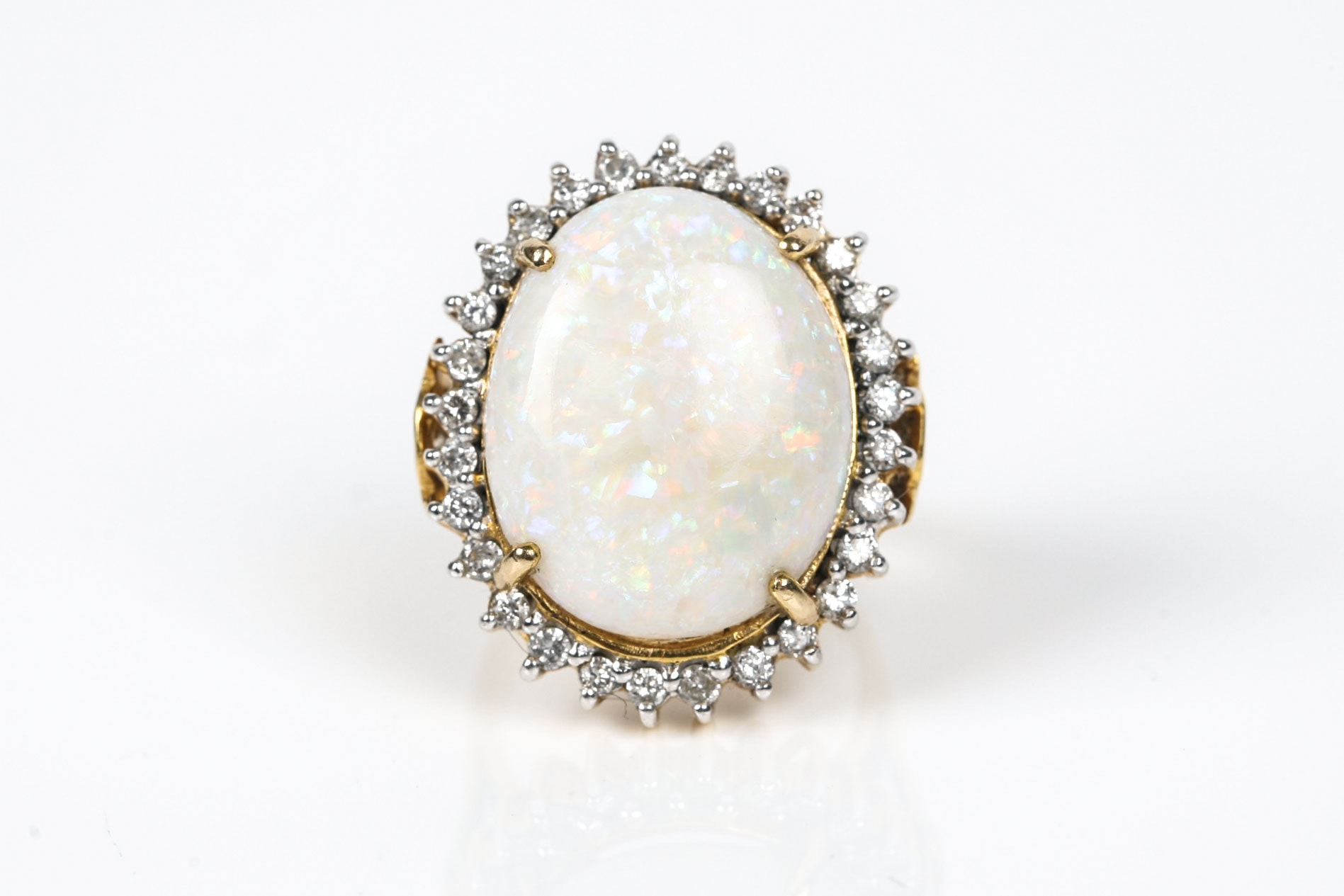 14K Yellow Gold Opal and Diamond Cocktail Ring