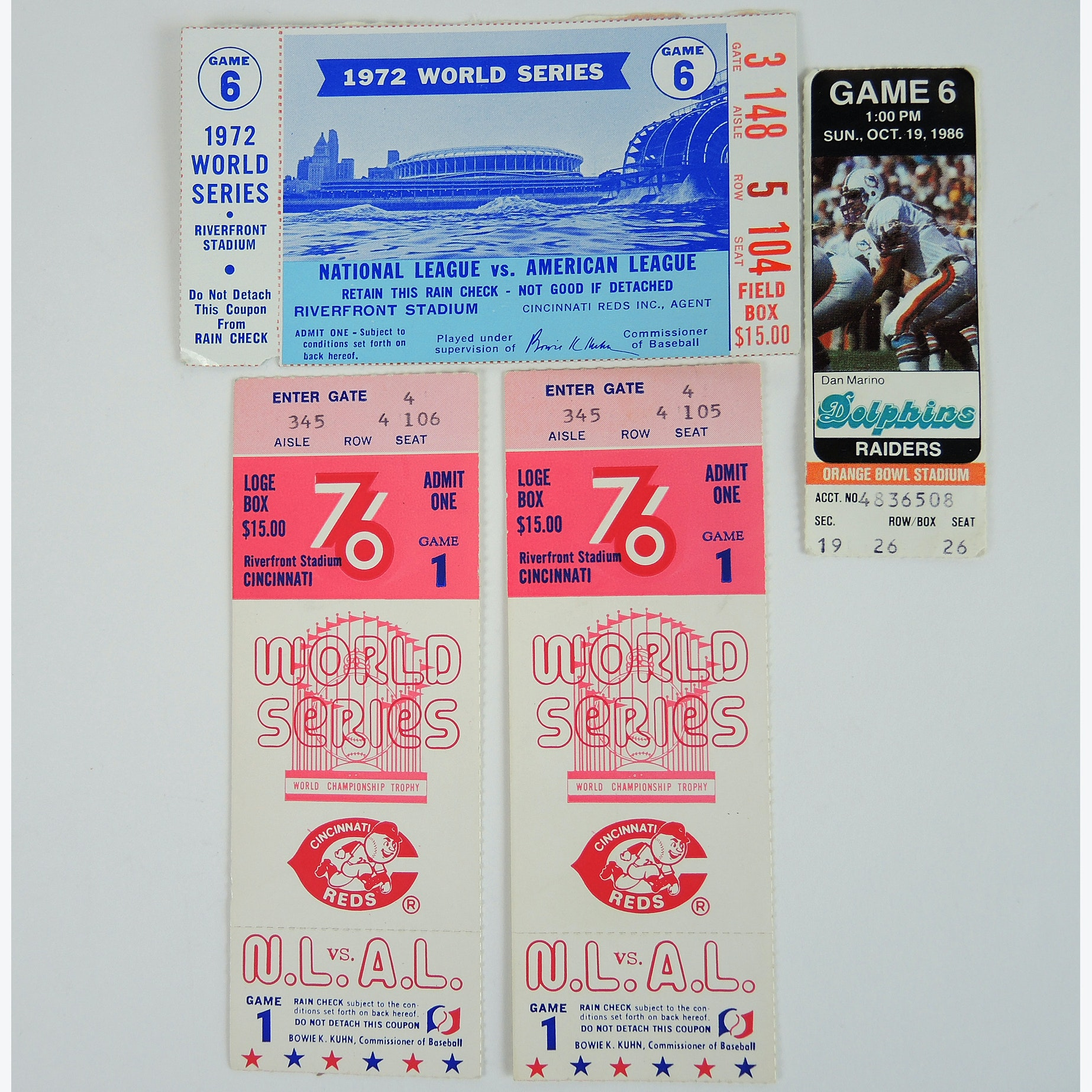 1976, '72 World Series Ticket Stubs and More