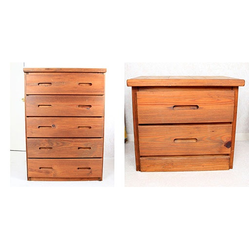 Pine Chest of Drawers and Nightstand