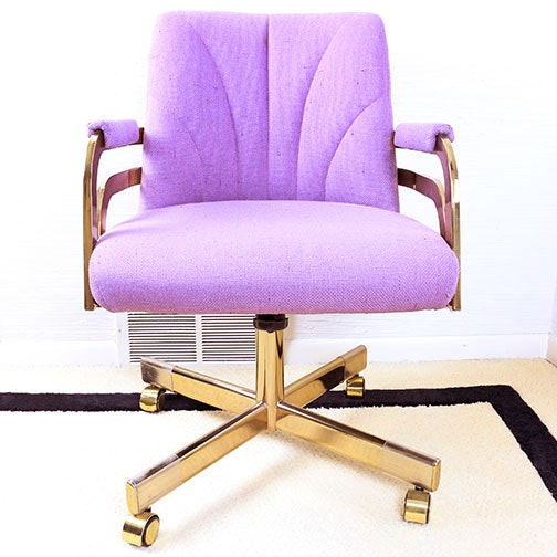 Violet and Brass Upholstered Office Chair