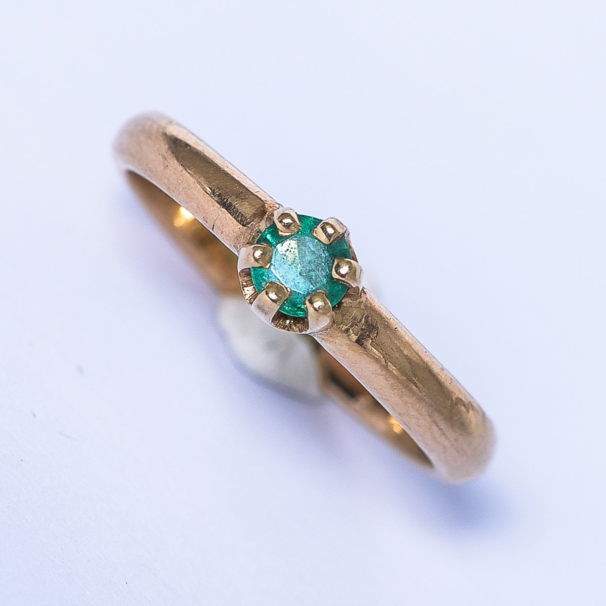 Vintage 14K Yellow Gold and Emerald Baby Ring