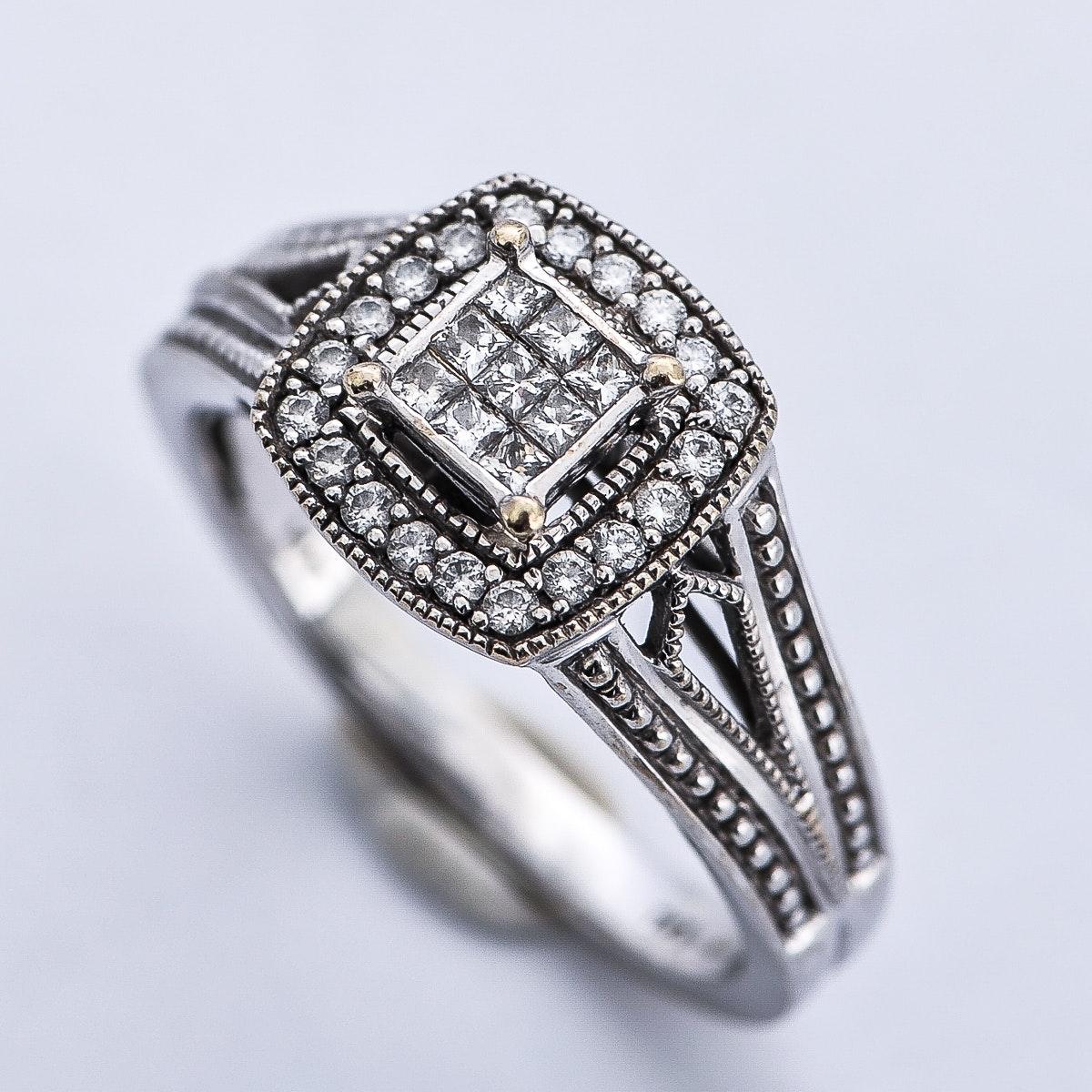 14K White Gold and Diamond Milgrain Engagement Ring with Surprise Diamond